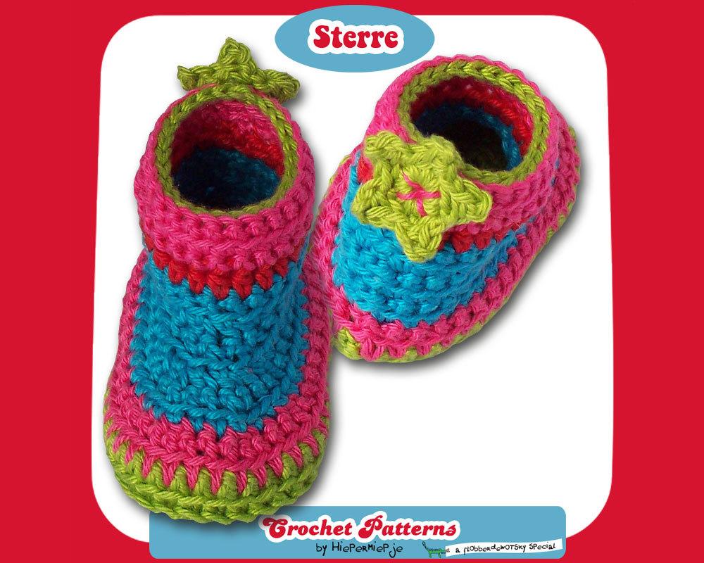 Crochet Pattern Baby Booties Sterre Pattern Crochet Baby Booties